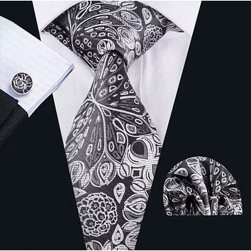 Men's Silk Coordinated Tie Set - Black and White Paisley