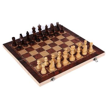 3 in 1 Wooden International Chess Set Board Travel Games Chess Backgammon Children Educational games