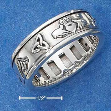 Sterling Silver Ring:  Worry Ring With Irish Symbols Spinning Band
