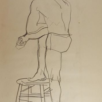 Line Drawing Male Figure 1950's