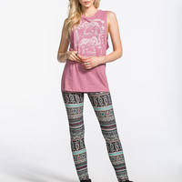 Full Tilt Paisley Boho Print Womens Leggings Multi  In Sizes