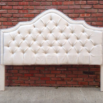 Custom Upholstered Headboard King Queen Twin Velvet Rhinestone Nailheads MADE TO ORDER