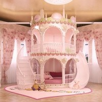 Bedroom Princess  Girl Slide Children Bed , Lovely Single Pink Castle Bed Girls Furniture