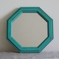 Turquoise wood octagon wall mirror - Turquoise decor, teal decor, teal mirror, rustic decor, wood decor, distressed mirror, painted mirror