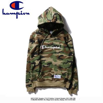 Champion winter classic camouflage embroidered letters couple models hooded sweater