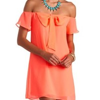 Neon Bow-Topped Off-the-Shoulder Shift Dress - Hot Neon Coral