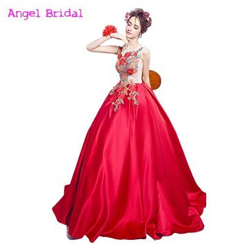 Robe Bal De Promo 2016 Sexy Red Taffeta Flower Embroidery Bandage Prom Dress Floor Length Formal Evening Gown Plus Size
