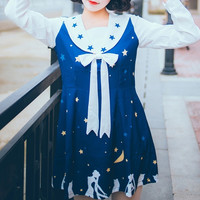 Sailor Moon Printed Kawaii Long Sleeve Dress/Sleeveless Dress SP165925