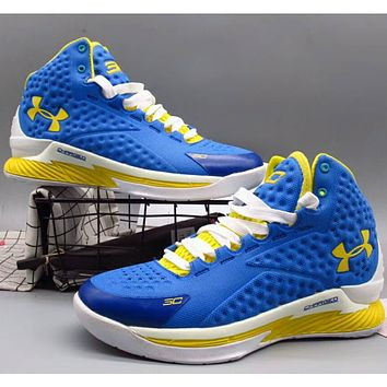 Under Armour UA CURRY Curry 1 spring new men's non-slip high basketball shock absorber boots sneakers F-A36H-MY blue