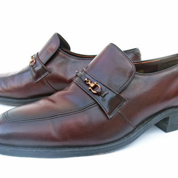 Vintage 70s Mens Shoes Brown Leather Loafers Horsebit Slip On Shoes size 9D Sears Easy Flex Leather Sole Shoes
