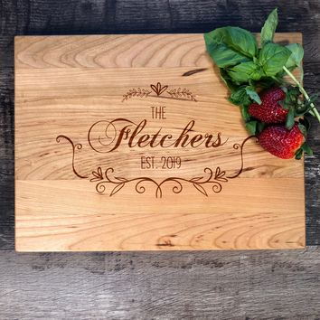 Custom Wedding Gift. Personalized Wood Cutting Board. Personalized Bridal Shower Gift. Engagement Gift. Engraved Board. #12