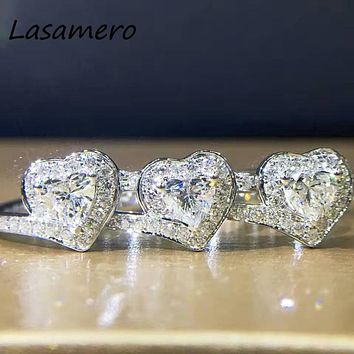 LASAMERO Ring For Women 0.51CT 18k White Gold Round Cut Heart Shape Natural diamond Ring Accents Engagement Wedding Ring