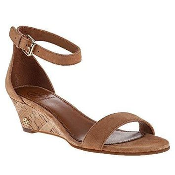 Tory Burch Savannah 45mm Wedge Sandal, Royal Tan, Size US 7