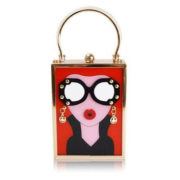 LMFOK2 Retro Acrylic  Glasses and Lips 3D Cartoon Clutch