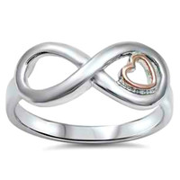 .925 Sterling Silver and Gold Infinity Heart Ring Ladies size 5-10