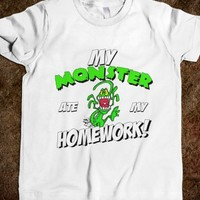 MY MONSTER ATE MY HOMEWORK FUNNY KIDS SCHOOL SHIRT