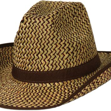 2-tone western hat with brown trim & band Case of 60