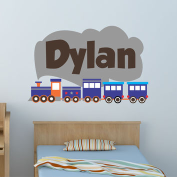 Train Boys Name Wall Decal- by Decor Designs Decals, train decal, kids decal, boys decal,train decor, train, nursery wall decal, kids room train, train wall decal