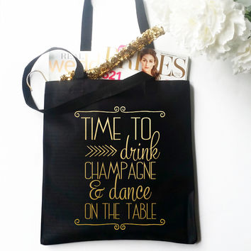 Tote Bag - Time to Drink Champagne Decorative Metallic Gold
