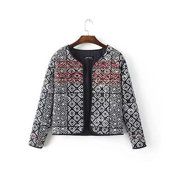 Vintage Style Lady's Autumn Winter Cotton Down Jacket Women's Print Pattern Slim Cotton Embroidery Coats