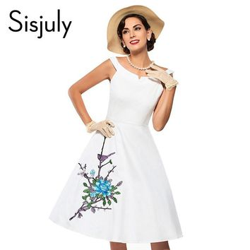 Sisjuly women vintage dress floral print party dress flower 50s pin up dress vestido de festa fashion style women dresses