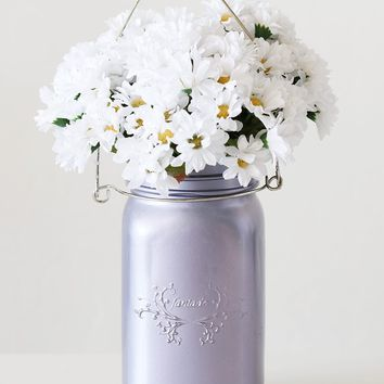 "Frosted Purple Glass Mason Jar with Hanger - 6.5"" Tall x 3.5"" Wide"