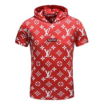 Supreme & LV joint models fashion men's short-sleeved trend F-A00FS-GJ Red