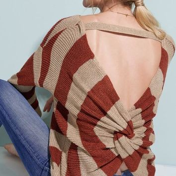 Fall Obsession Open Back Knit Sweater (Marsala)