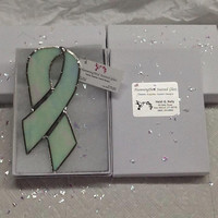 Lung Cancer - Adoption - Alzheimers Disease - Infant Loss - Diabetes - Purity White Stained Glass Awareness Ribbon