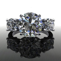 Three Stone Round and Oval Forever Brilliant Moissanite Engagement Ring or Anniversary Ring 5 CTW
