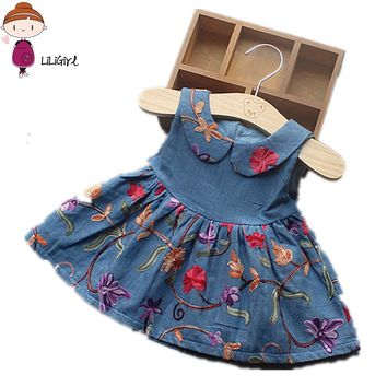 LILIGIRL Fashionable Baby Summer Girl Dress Doll Collar Princess dresses Girls Infant Embroidery Denim dress Sleeveless
