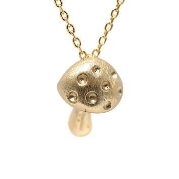 Handcrafted Brushed Metal Magic Mushroom Necklace