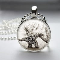 Photo Art Glass Bezel Pendant Starfish Necklace