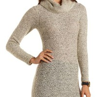 Cowl Neck Boucle Sweater Dress by Charlotte Russe - Ivory