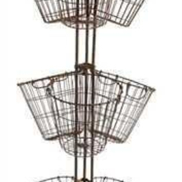 Round Metal Stand with Wire Baskets