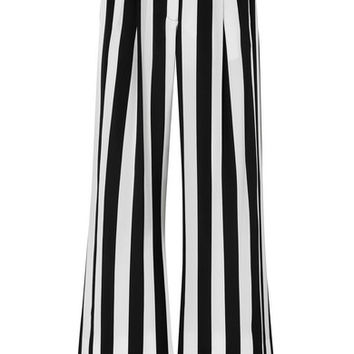 Michelle Mason - Striped silk crepe de chine wide-leg pants