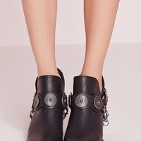 Missguided - Chain Strap Western Ankle Boot Black