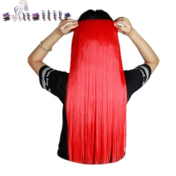 S-noilite Long 26 inches Straight 68CM 100% Real Thick 150g 3/4 Full Head Clip in Hair Extensions Synthetic for human