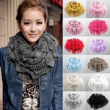 2016 New Fashion Womens Winter Warm Knitted Layered Fringe Tassel Neck Circle Shawl Snood Scarf Cowl 13 Colors Luxury Brand New