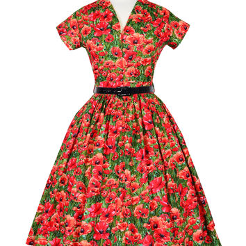 Kelly Dress in Red Poppy Print