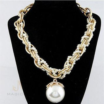 Fashion Jewelry Big Pearl Collar Choker Chunky Gold Statement Necklace USA