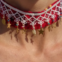 lace necklace, red necklace,marginal necklace,star necklace,left key necklace,beaded necklace