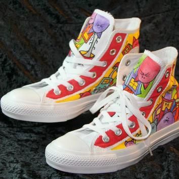 Hand Painted Converse Shoes Women/ Men Cat Design
