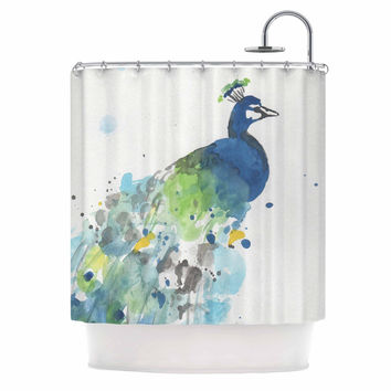 "Rebecca Bender ""Abstract Watercolor Peacock"" Blue Teal Shower Curtain"