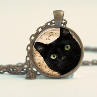 Pendant with Chain - A black Cat