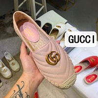 GUCCI Fashion Women Casual Leather Single Shoe Fisherman Shoes Pink