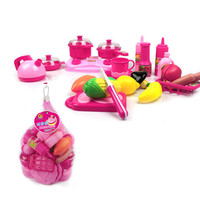 40pcs set Pink Kitchen Food Cooking Role Play Pretend Toy Girls Baby Child baby kid plastic kitchen toys play kitchen Xmas Gift