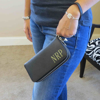 Personalized Womens Wallet Clutch w/Strap - iPhone Wallet -Monogrammed Clutch -Bridesmaids Gift (MS180)