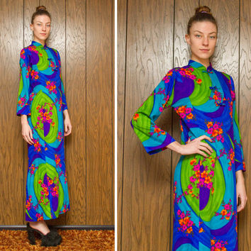 Vintage 60s 70s Sun Fashions Hawaii Kawaii Neon Green Blue Pink Orange Asian Japanese Chinese Cheongsam Long Sleeve MuMu Dress M