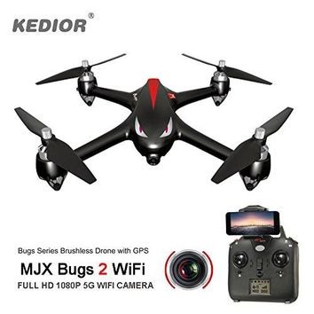Drones with Camera Live Video and GPS Return Home,Bug 2 FPV Drone with Professional Brushless Motors 1080P 5G Wifi Camera,1km Remote Control Distance, Headless Mode,Gift For Men